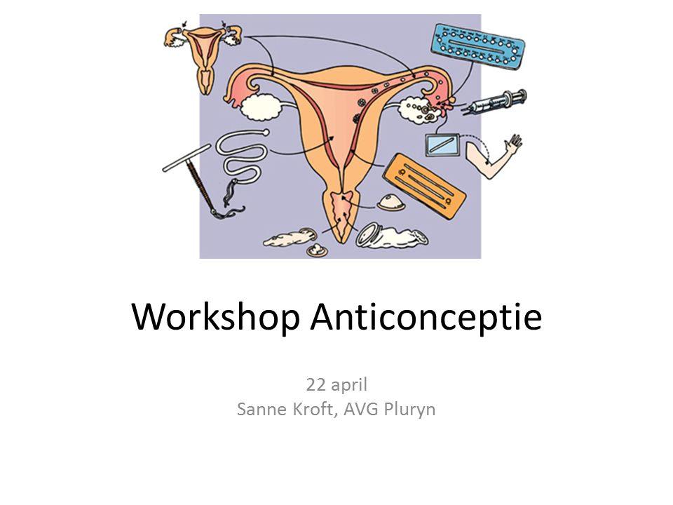 Workshop Anticonceptie 22 april Sanne Kroft, AVG Pluryn