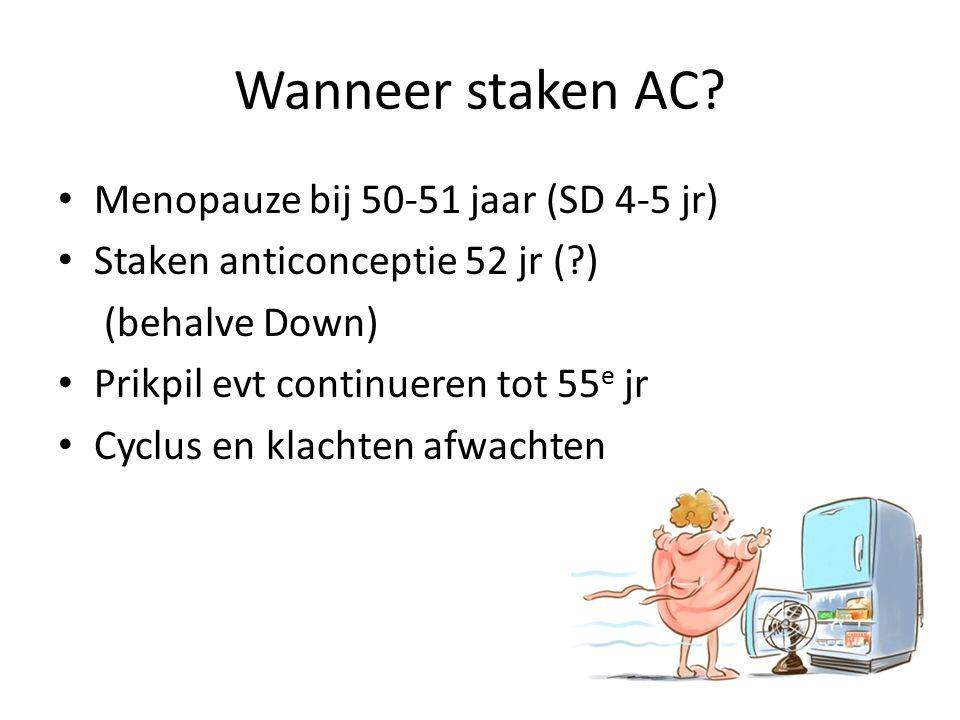 Wanneer staken AC? Menopauze bij 50-51 jaar (SD 4-5 jr) Staken anticonceptie 52 jr (?) (behalve Down) Prikpil evt continueren tot 55 e jr Cyclus en kl