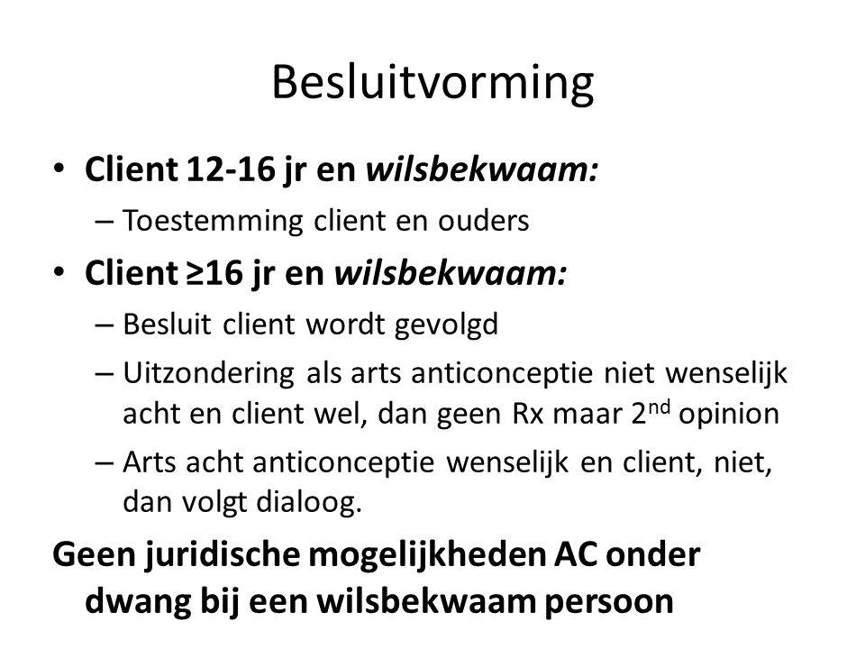 Client 12-16 jr en wilsbekwaam: – Toestemming client en ouders Client ≥16 jr en wilsbekwaam: – Besluit client wordt gevolgd – Uitzondering als arts an