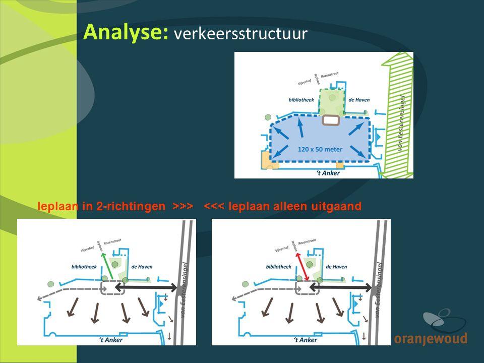 Analyse: verkeersstructuur Ieplaan in 2-richtingen >>> <<< Ieplaan alleen uitgaand