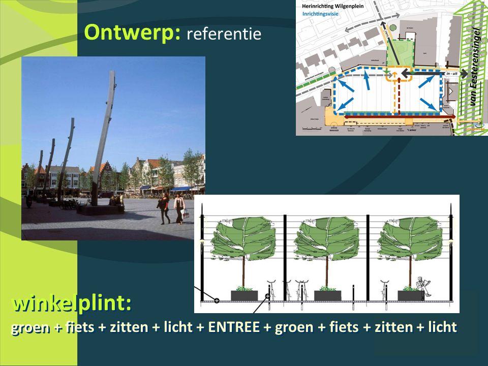 Ontwerp: referentie winkelplint: groen + fiets + zitten + licht + ENTREE + groen + fiets + zitten + licht