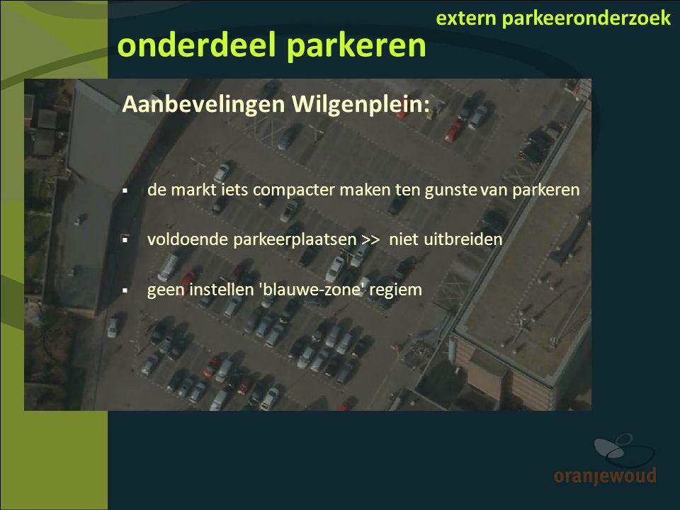 onderdeel parkeren extern parkeeronderzoek Aanbevelingen Wilgenplein:  de markt iets compacter maken ten gunste van parkeren  voldoende parkeerplaatsen >> niet uitbreiden  geen instellen blauwe-zone regiem