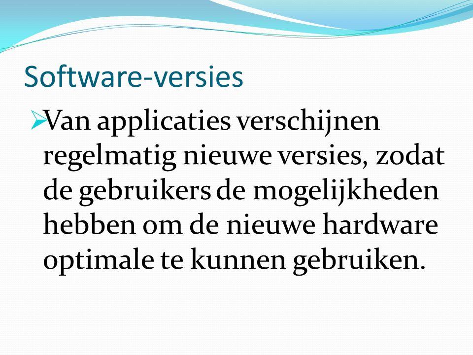 Software-versies  Van applicaties verschijnen regelmatig nieuwe versies, zodat de gebruikers de mogelijkheden hebben om de nieuwe hardware optimale te kunnen gebruiken.