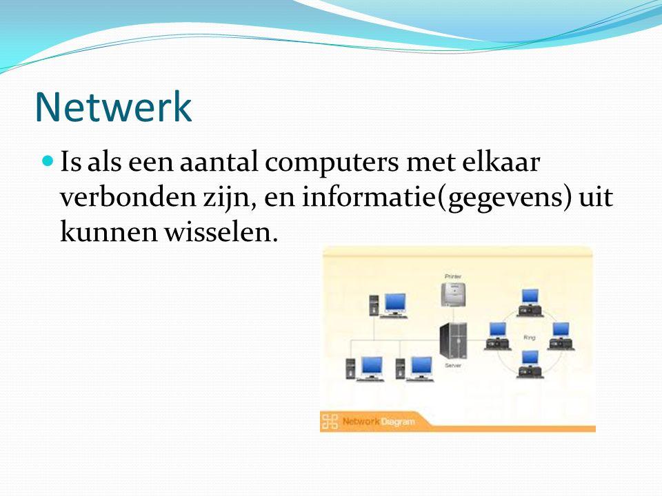 Netwerk Is als een aantal computers met elkaar verbonden zijn, en informatie(gegevens) uit kunnen wisselen.