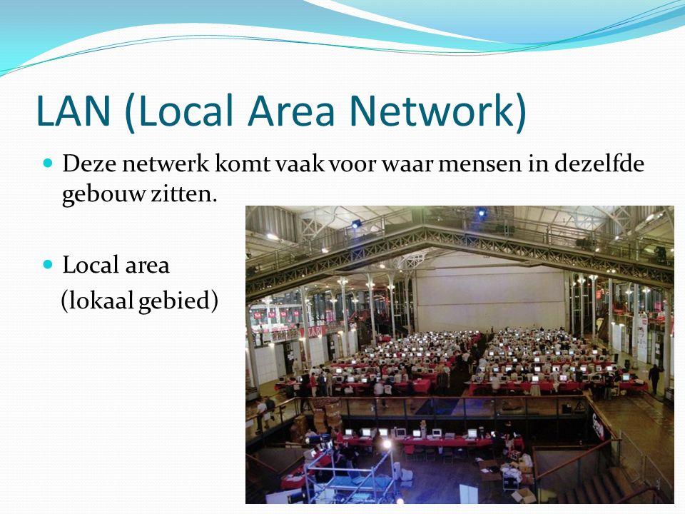 LAN (Local Area Network) Deze netwerk komt vaak voor waar mensen in dezelfde gebouw zitten.