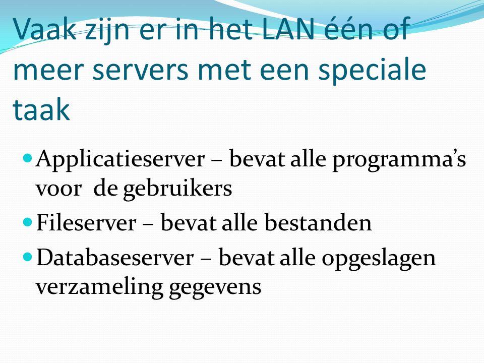 Vaak zijn er in het LAN één of meer servers met een speciale taak Applicatieserver – bevat alle programma's voor de gebruikers Fileserver – bevat alle bestanden Databaseserver – bevat alle opgeslagen verzameling gegevens