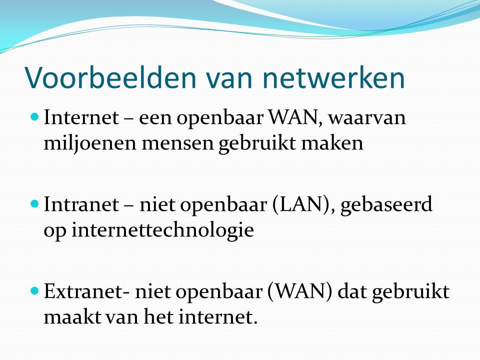 Voorbeelden van netwerken Internet – een openbaar WAN, waarvan miljoenen mensen gebruikt maken Intranet – niet openbaar (LAN), gebaseerd op internettechnologie Extranet- niet openbaar (WAN) dat gebruikt maakt van het internet.