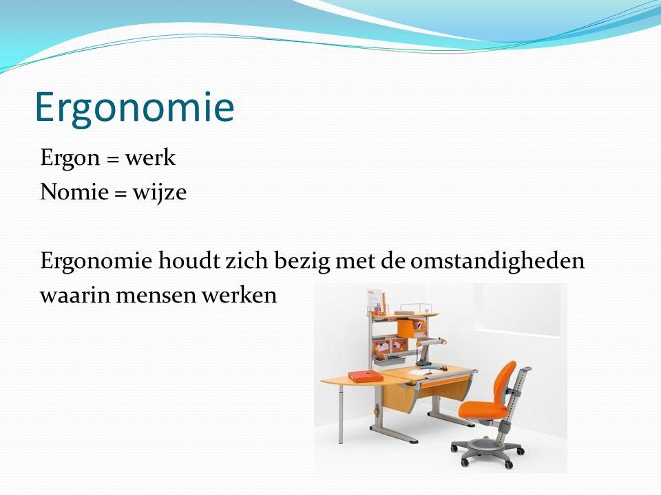 Ergonomie Ergon = werk Nomie = wijze Ergonomie houdt zich bezig met de omstandigheden waarin mensen werken