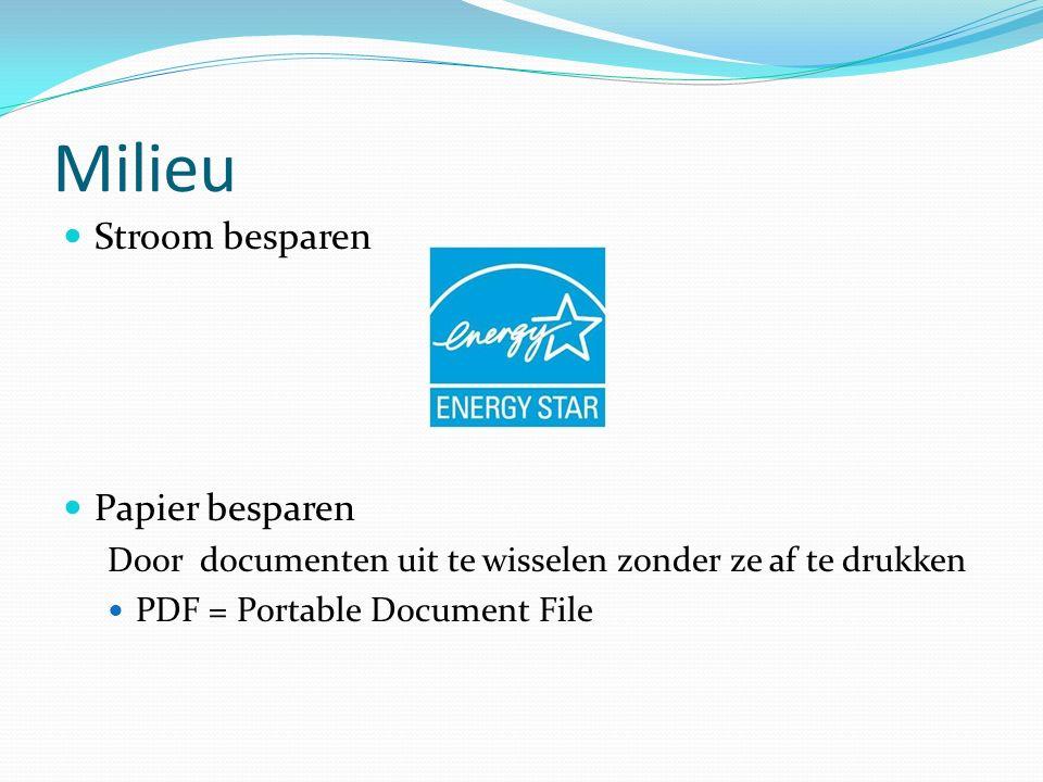 Milieu Stroom besparen Papier besparen Door documenten uit te wisselen zonder ze af te drukken PDF = Portable Document File