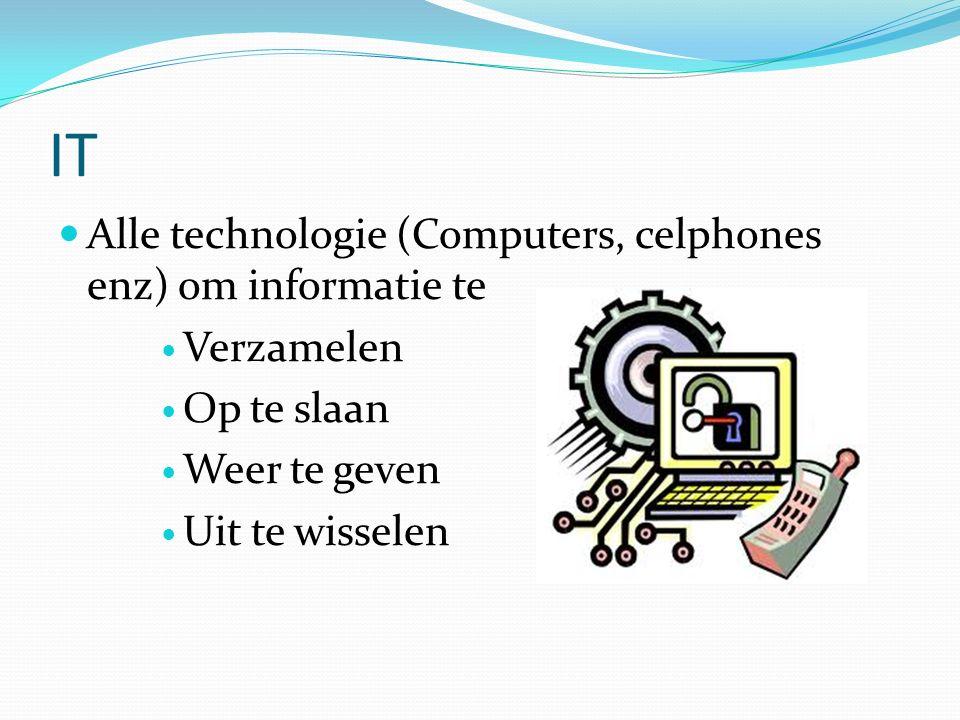 IT Alle technologie (Computers, celphones enz) om informatie te Verzamelen Op te slaan Weer te geven Uit te wisselen