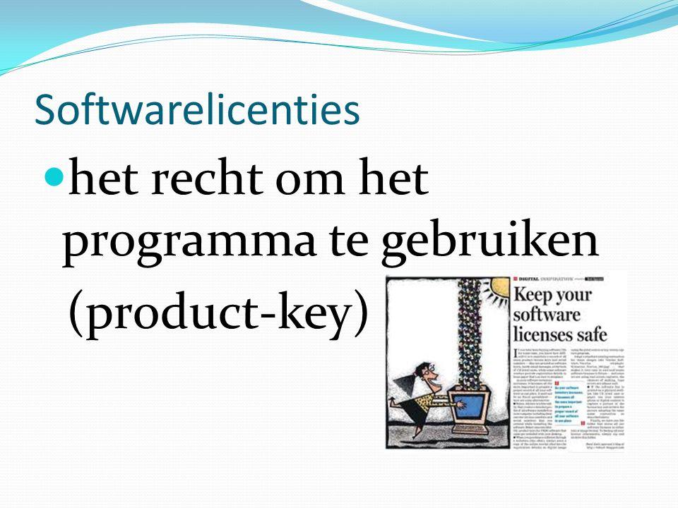 Softwarelicenties het recht om het programma te gebruiken (product-key)