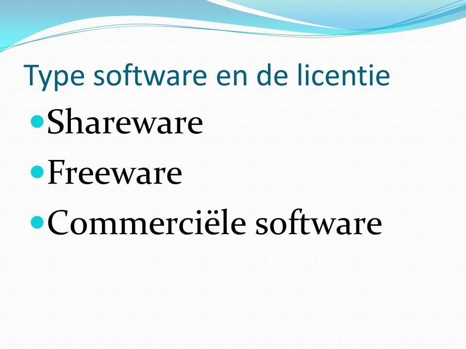 Type software en de licentie Shareware Freeware C0mmerciële software