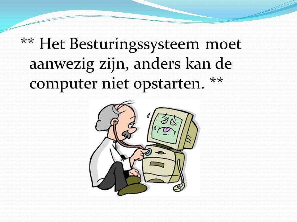 ** Het Besturingssysteem moet aanwezig zijn, anders kan de computer niet opstarten. **