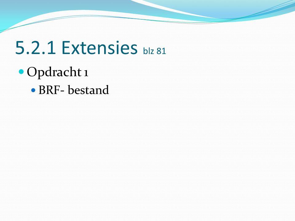 5.2.1 Extensies blz 81 Opdracht 1 BRF- bestand