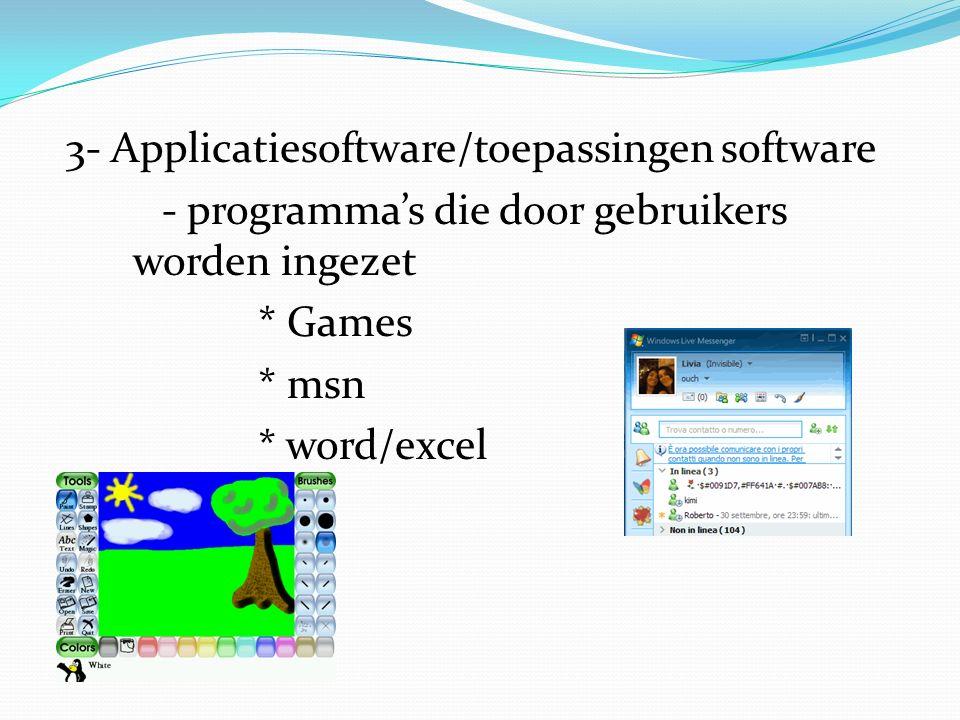 3- Applicatiesoftware/toepassingen software - programma's die door gebruikers worden ingezet * Games * msn * word/excel