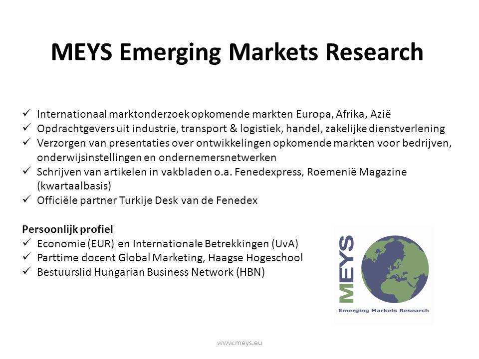 MEYS Emerging Markets Research www.meys.eu Internationaal marktonderzoek opkomende markten Europa, Afrika, Azië Opdrachtgevers uit industrie, transport & logistiek, handel, zakelijke dienstverlening Verzorgen van presentaties over ontwikkelingen opkomende markten voor bedrijven, onderwijsinstellingen en ondernemersnetwerken Schrijven van artikelen in vakbladen o.a.