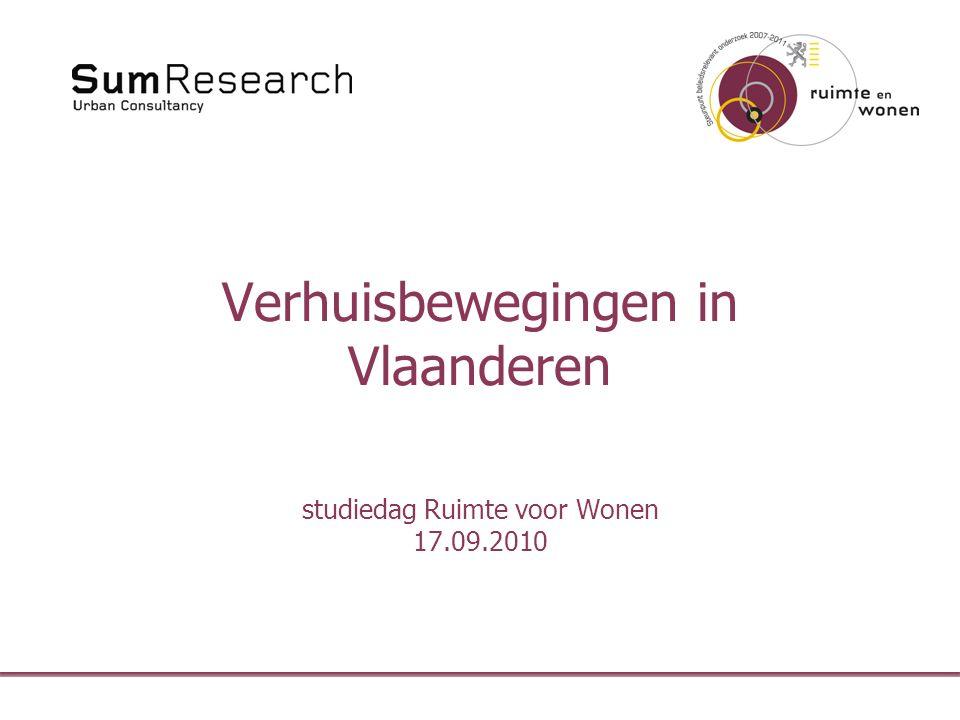 Verhuisbewegingen in Vlaanderen studiedag Ruimte voor Wonen 17.09.2010