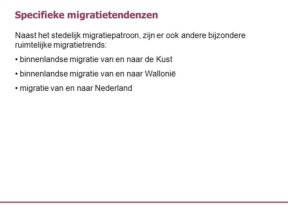 Naast het stedelijk migratiepatroon, zijn er ook andere bijzondere ruimtelijke migratietrends: binnenlandse migratie van en naar de Kust binnenlandse