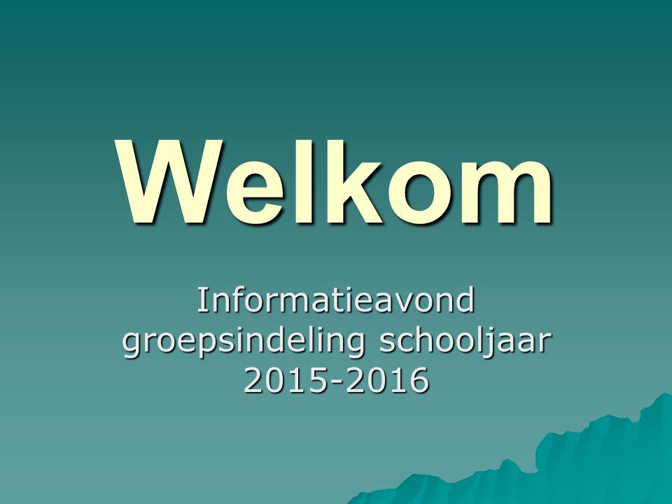 Welkom Informatieavond groepsindeling schooljaar 2015-2016