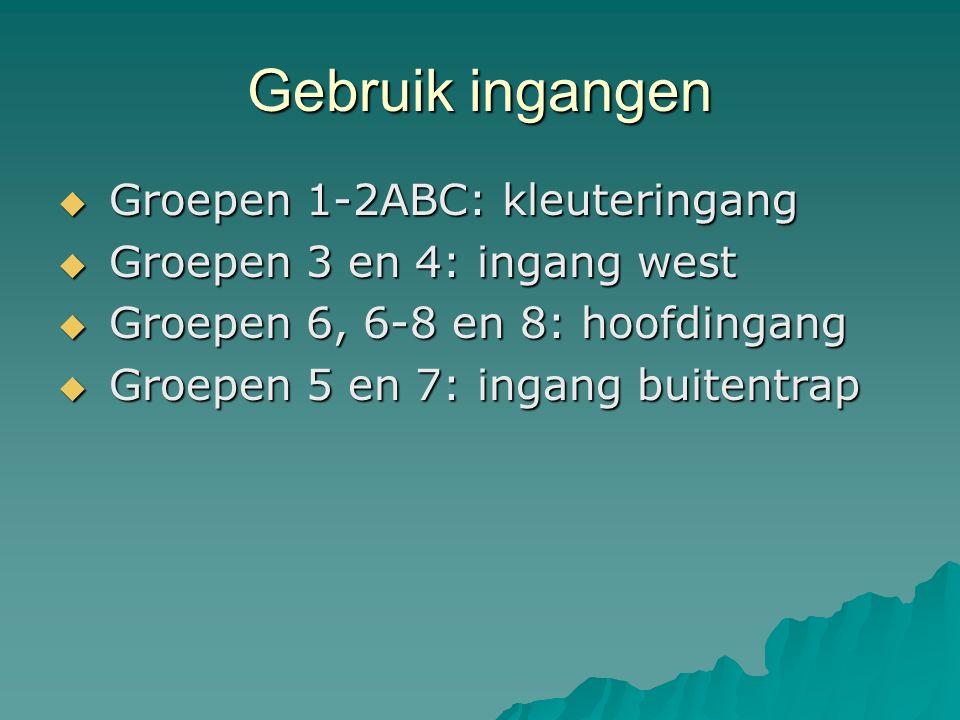 Gebruik ingangen  Groepen 1-2ABC: kleuteringang  Groepen 3 en 4: ingang west  Groepen 6, 6-8 en 8: hoofdingang  Groepen 5 en 7: ingang buitentrap