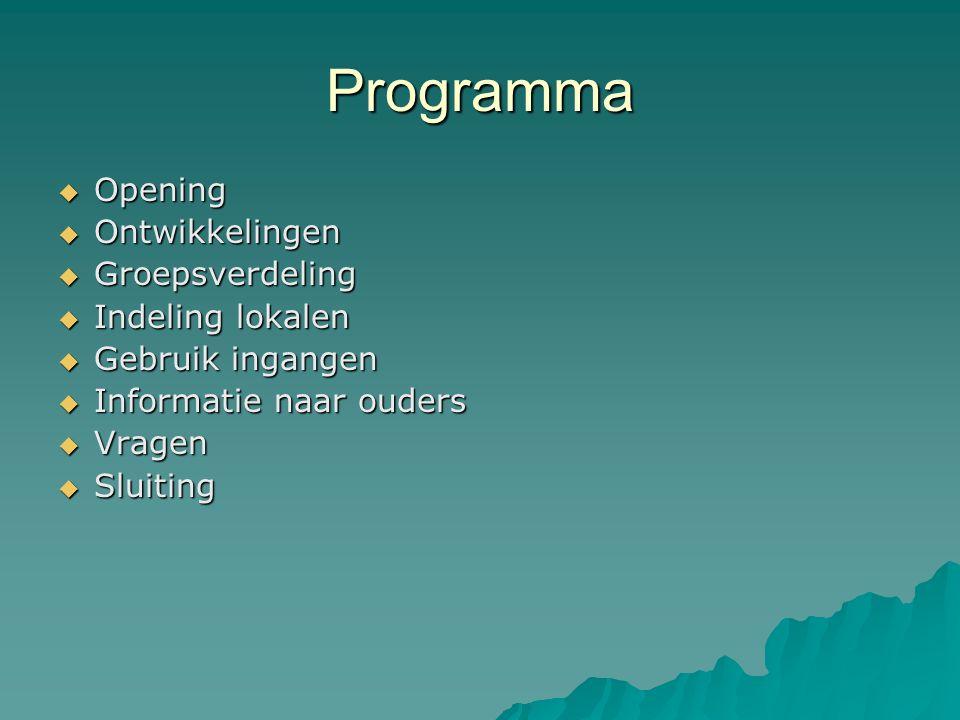 Programma  Opening  Ontwikkelingen  Groepsverdeling  Indeling lokalen  Gebruik ingangen  Informatie naar ouders  Vragen  Sluiting