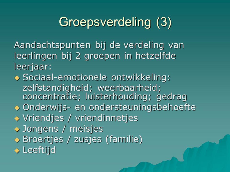 Groepsverdeling (3) Aandachtspunten bij de verdeling van leerlingen bij 2 groepen in hetzelfde leerjaar:  Sociaal-emotionele ontwikkeling: zelfstandigheid; weerbaarheid; concentratie; luisterhouding; gedrag  Onderwijs- en ondersteuningsbehoefte  Vriendjes / vriendinnetjes  Jongens / meisjes  Broertjes / zusjes (familie)  Leeftijd