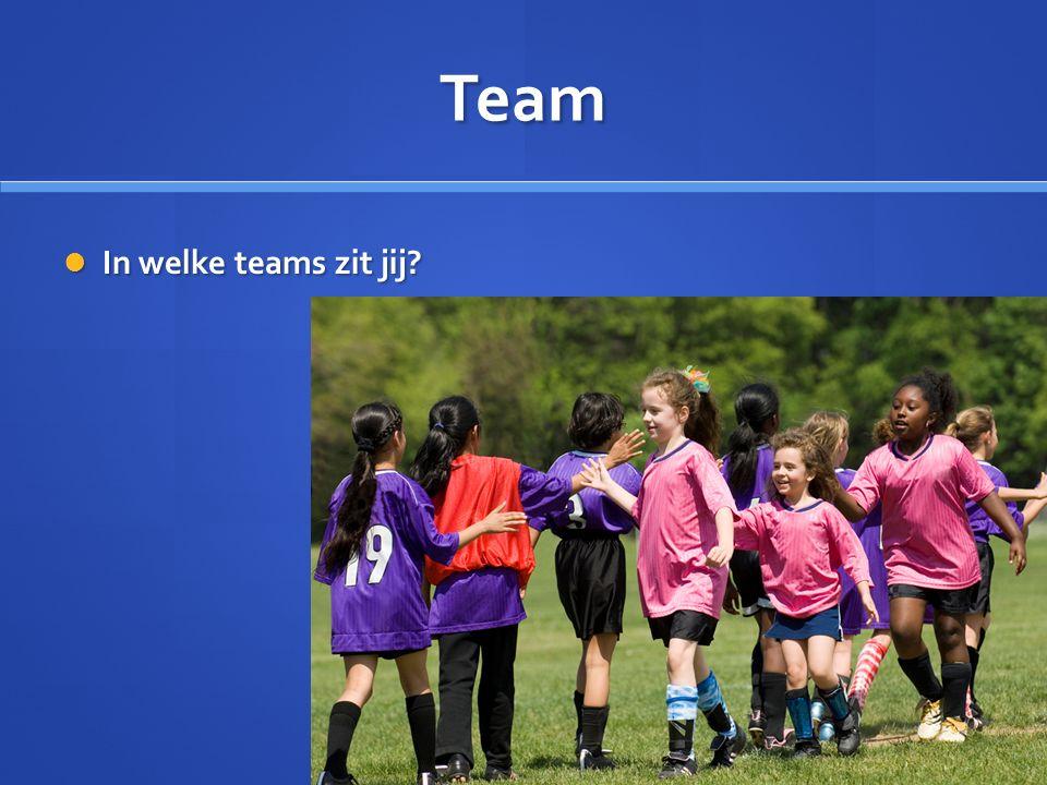 Team In welke teams zit jij In welke teams zit jij