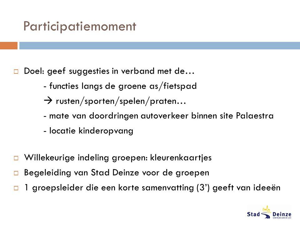 Participatiemoment  Doel: geef suggesties in verband met de… - functies langs de groene as/fietspad  rusten/sporten/spelen/praten… - mate van doordr