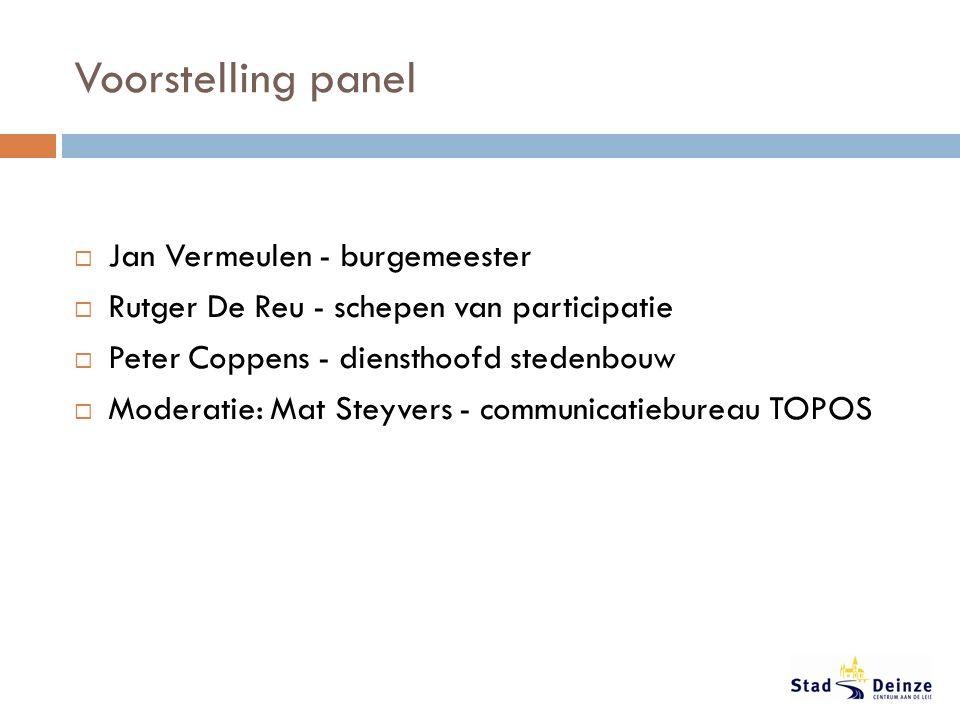 Voorstelling panel  Jan Vermeulen - burgemeester  Rutger De Reu - schepen van participatie  Peter Coppens - diensthoofd stedenbouw  Moderatie: Mat Steyvers - communicatiebureau TOPOS
