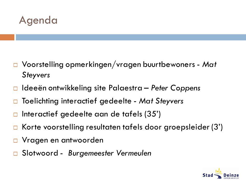 Agenda  Voorstelling opmerkingen/vragen buurtbewoners - Mat Steyvers  Ideeën ontwikkeling site Palaestra – Peter Coppens  Toelichting interactief g