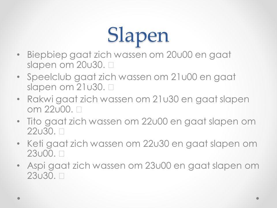 Slapen Biepbiep gaat zich wassen om 20u00 en gaat slapen om 20u30.