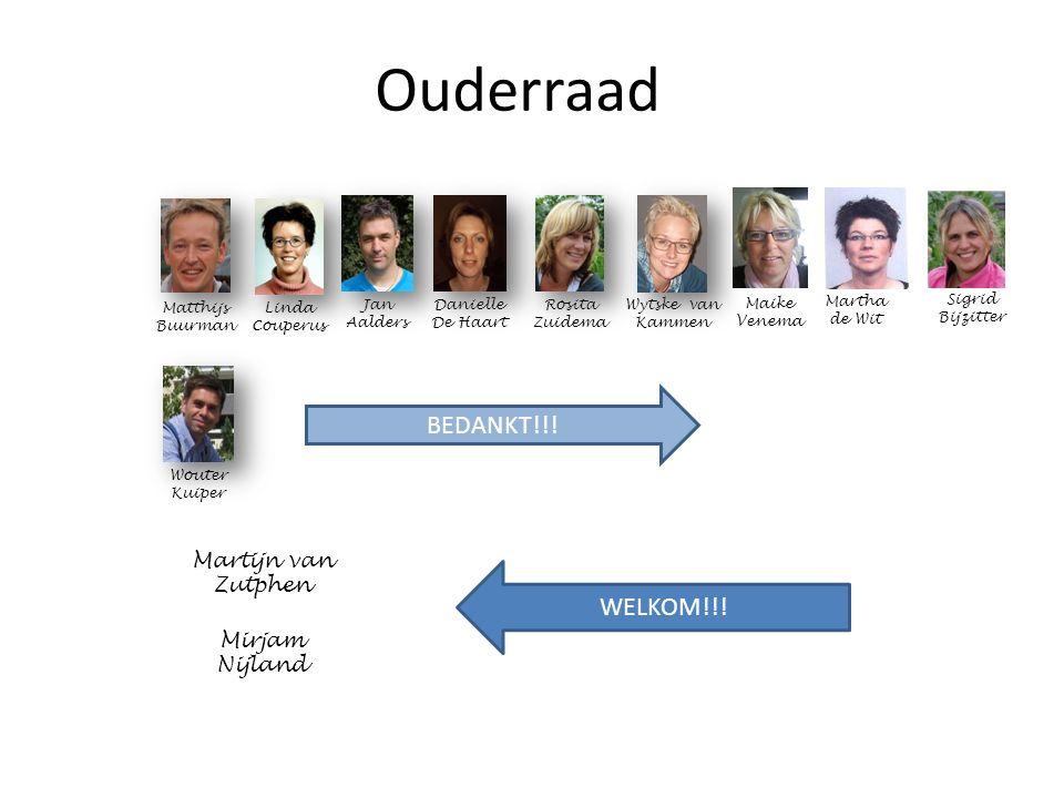 Ouderraad Wouter Kuiper Linda Couperus Jan Aalders Matthijs Buurman Rosita Zuidema Wytske van Kammen Danielle De Haart BEDANKT!!.