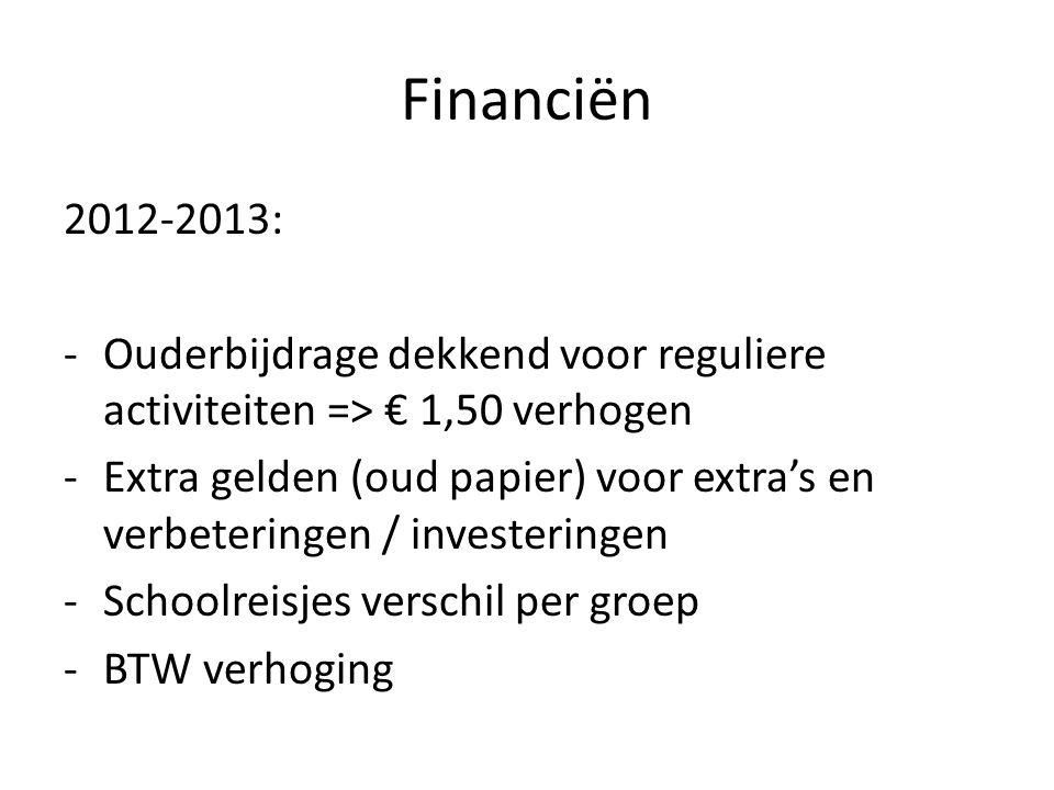 Financiën 2012-2013: -Ouderbijdrage dekkend voor reguliere activiteiten => € 1,50 verhogen -Extra gelden (oud papier) voor extra's en verbeteringen / investeringen -Schoolreisjes verschil per groep -BTW verhoging