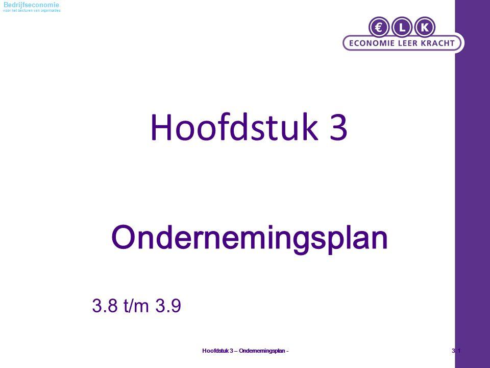 voor het besturen van organisaties Bedrijfseconomie Hoofdstuk 3 Hoofdstuk 3 – Ondernemingsplan -3.1 Ondernemingsplan 3.8 t/m 3.9