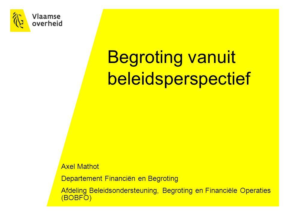 Begroting vanuit beleidsperspectief Axel Mathot Departement Financiën en Begroting Afdeling Beleidsondersteuning, Begroting en Financiële Operaties (B