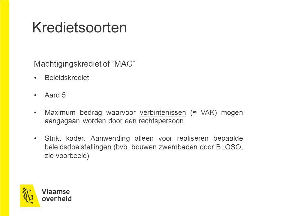 """Kredietsoorten Machtigingskrediet of """"MAC"""" Beleidskrediet Aard 5 Maximum bedrag waarvoor verbintenissen (≈ VAK) mogen aangegaan worden door een rechts"""