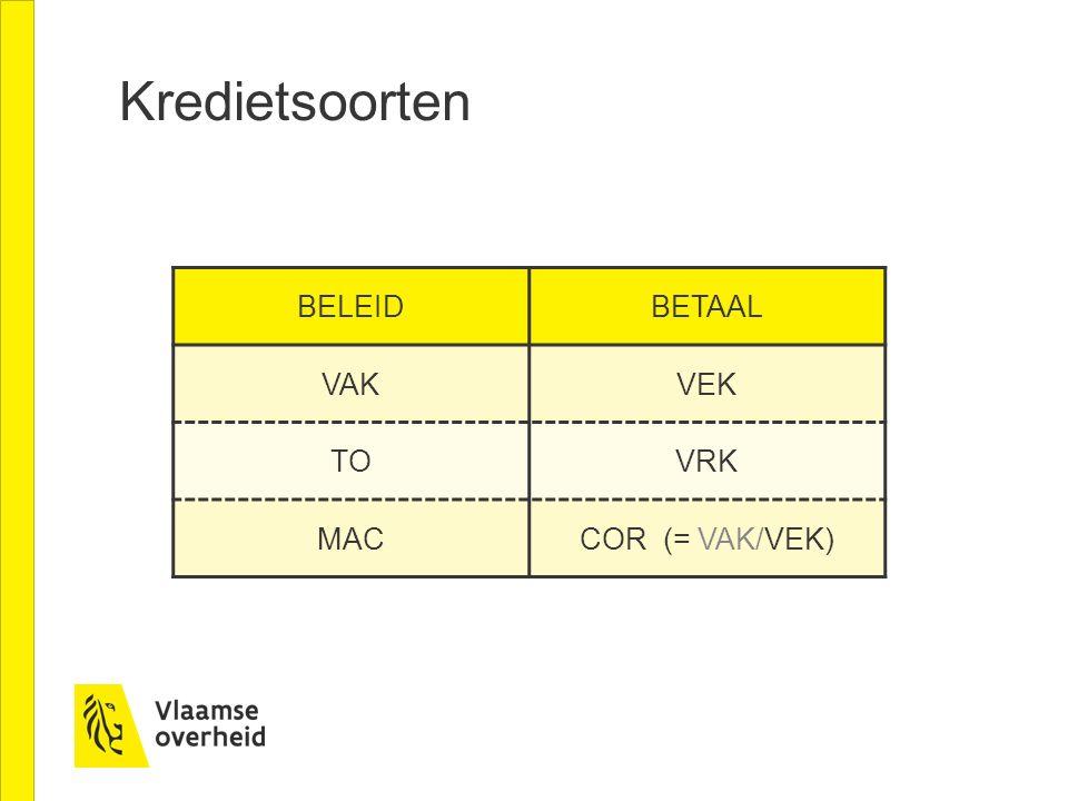 Kredietsoorten BELEIDBETAAL VAKVEK TOVRK MACCOR (= VAK/VEK)