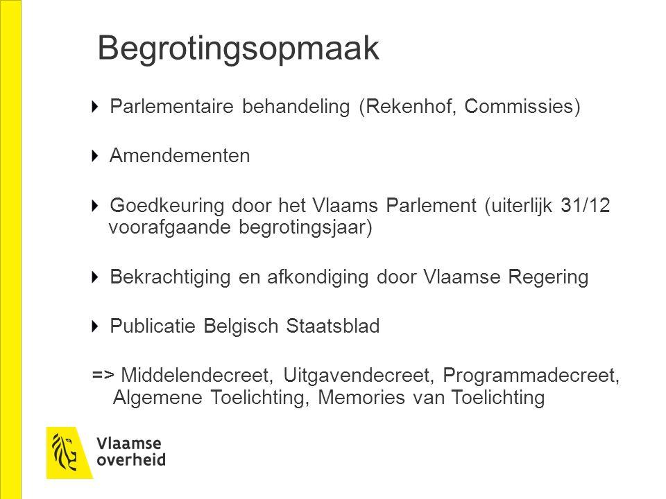 Begrotingsopmaak Parlementaire behandeling (Rekenhof, Commissies) Amendementen Goedkeuring door het Vlaams Parlement (uiterlijk 31/12 voorafgaande beg