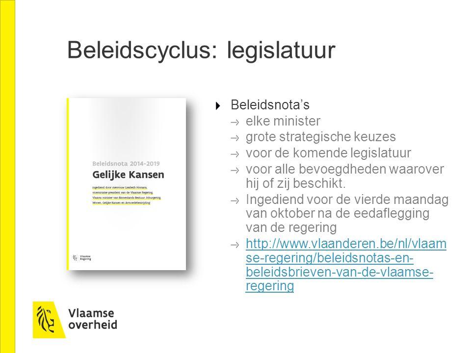 Beleidscyclus: legislatuur Beleidsnota's elke minister grote strategische keuzes voor de komende legislatuur voor alle bevoegdheden waarover hij of zi