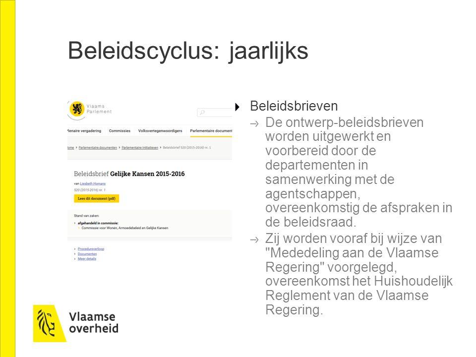 Beleidscyclus: jaarlijks Beleidsbrieven De ontwerp-beleidsbrieven worden uitgewerkt en voorbereid door de departementen in samenwerking met de agentsc