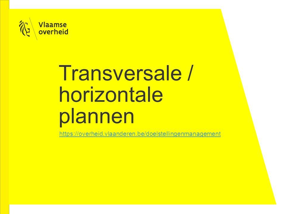 Transversale / horizontale plannen https://overheid.vlaanderen.be/doelstellingenmanagement