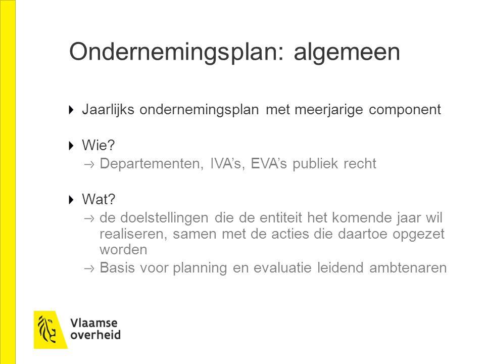 Ondernemingsplan: algemeen Jaarlijks ondernemingsplan met meerjarige component Wie? Departementen, IVA's, EVA's publiek recht Wat? de doelstellingen d