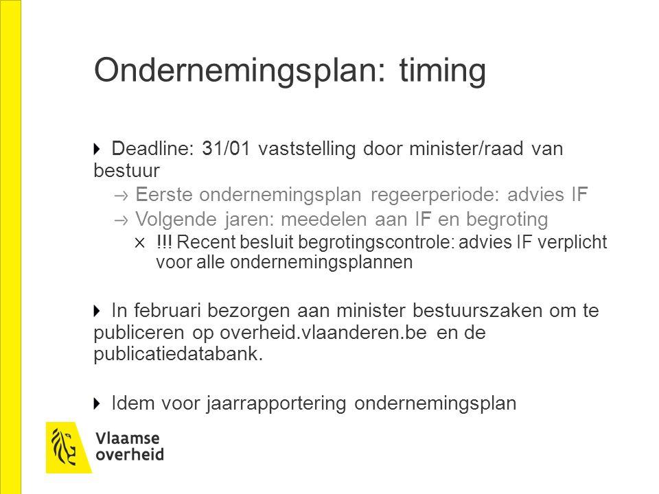 Ondernemingsplan: timing Deadline: 31/01 vaststelling door minister/raad van bestuur Eerste ondernemingsplan regeerperiode: advies IF Volgende jaren: