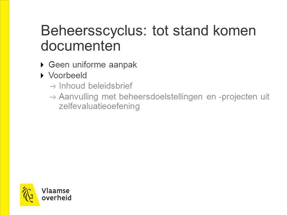 Beheersscyclus: tot stand komen documenten Geen uniforme aanpak Voorbeeld Inhoud beleidsbrief Aanvulling met beheersdoelstellingen en -projecten uit z