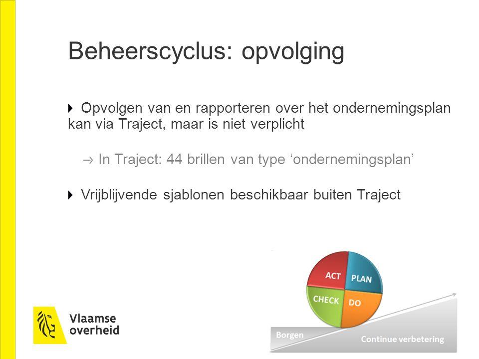Beheerscyclus: opvolging Opvolgen van en rapporteren over het ondernemingsplan kan via Traject, maar is niet verplicht In Traject: 44 brillen van type