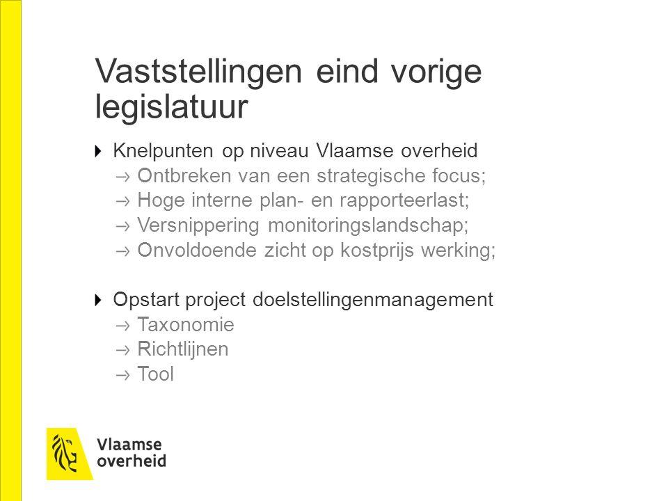 Vaststellingen eind vorige legislatuur Knelpunten op niveau Vlaamse overheid Ontbreken van een strategische focus; Hoge interne plan- en rapporteerlas