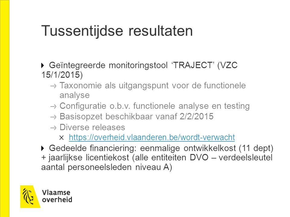 Tussentijdse resultaten Geïntegreerde monitoringstool 'TRAJECT' (VZC 15/1/2015) Taxonomie als uitgangspunt voor de functionele analyse Configuratie o.
