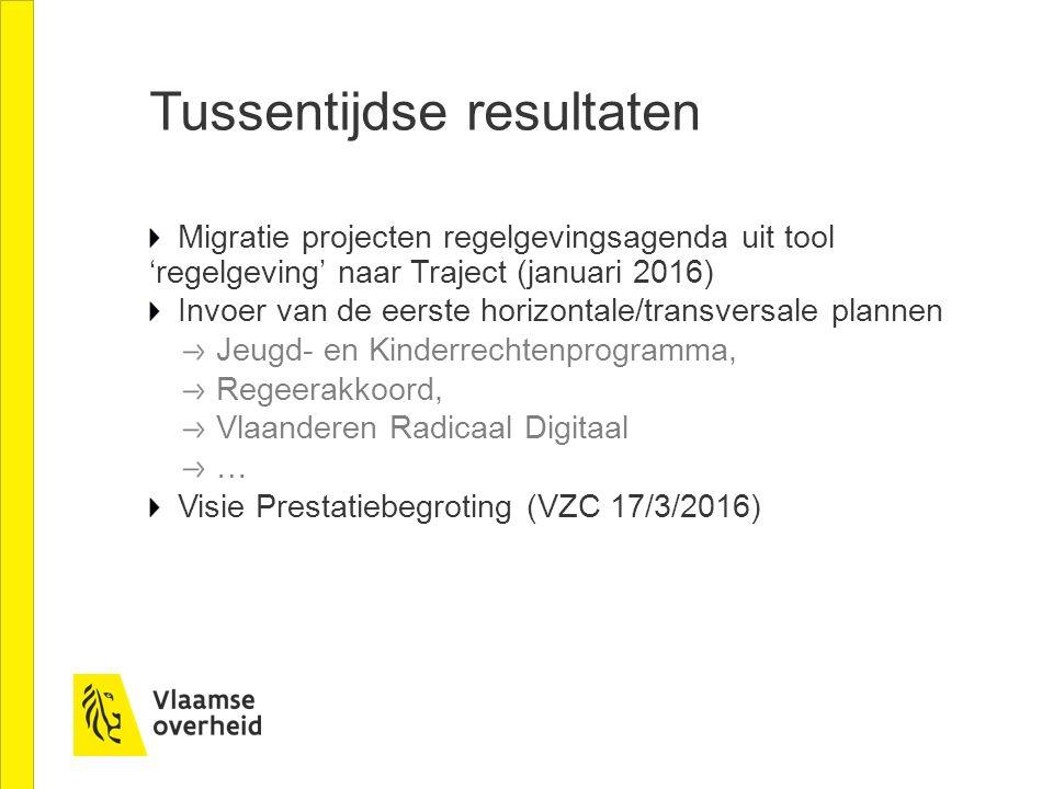 Tussentijdse resultaten Migratie projecten regelgevingsagenda uit tool 'regelgeving' naar Traject (januari 2016) Invoer van de eerste horizontale/tran
