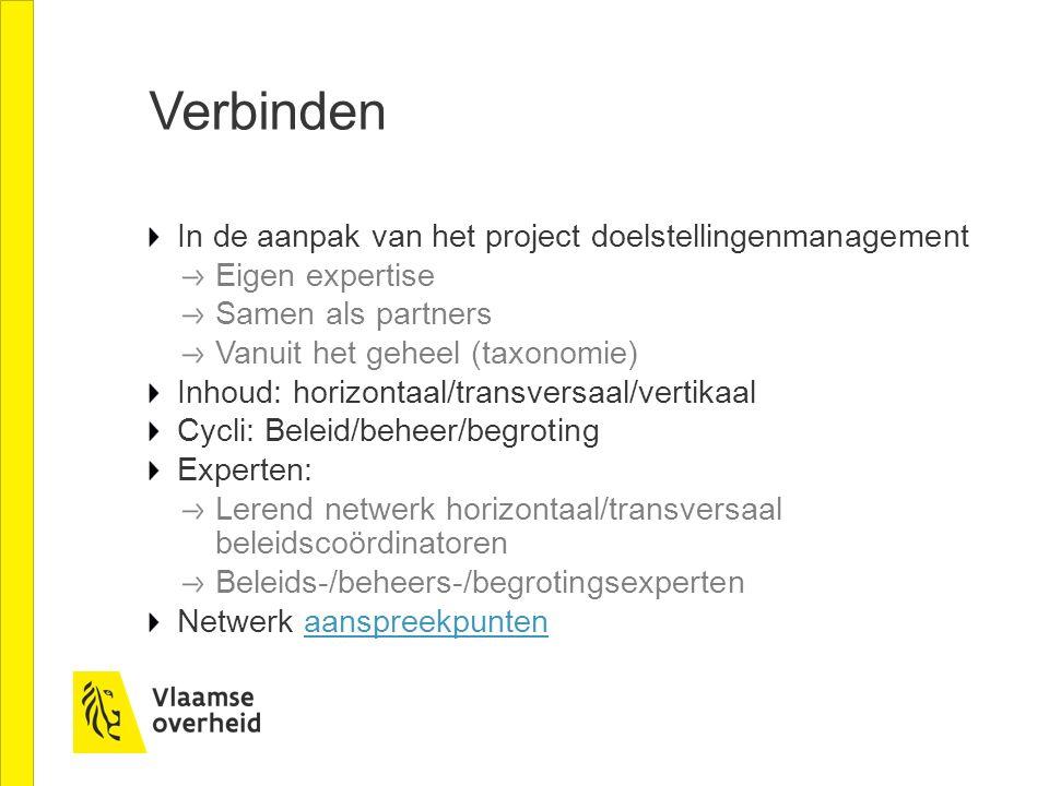 Verbinden In de aanpak van het project doelstellingenmanagement Eigen expertise Samen als partners Vanuit het geheel (taxonomie) Inhoud: horizontaal/t