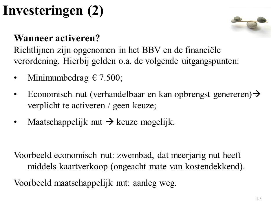Investeringen (2) Wanneer activeren.